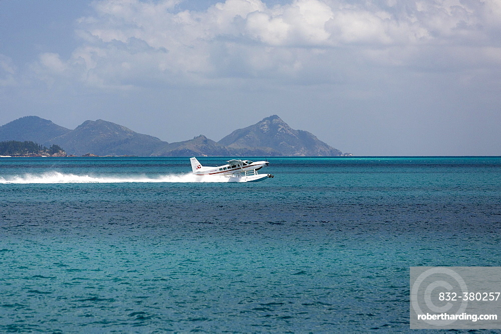 Seaplane in Great Barrier Reef Marine Park, Whitsunday Islands National Park, Whitsunday Islands, Queensland, Australia, Oceania