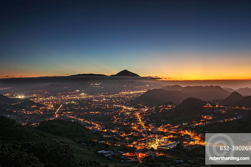 View over San Cristobal de La Laguna to Mount Teide at sunset, Tenerife, Spain, Europe