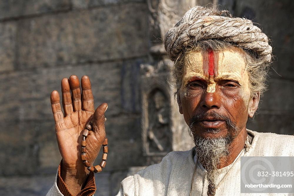 Sadhu, painted face, portrait, Pashupatinath, Kathmandu, Nepal, Asia