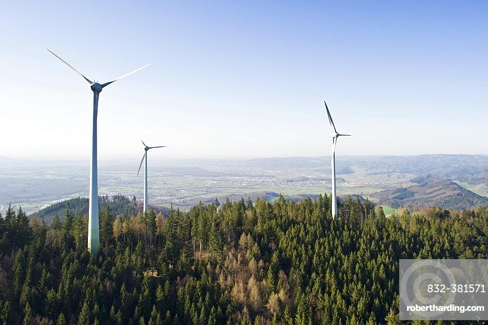 Aerial view, wind turbines on Rosskopf mountain, Freiburg im Breisgau, Baden-Wuerttemberg, Germany, Europe