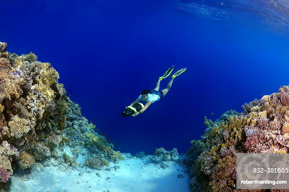 Freediver swimming with underwater scooter, Red Sea, Egypt, Africa