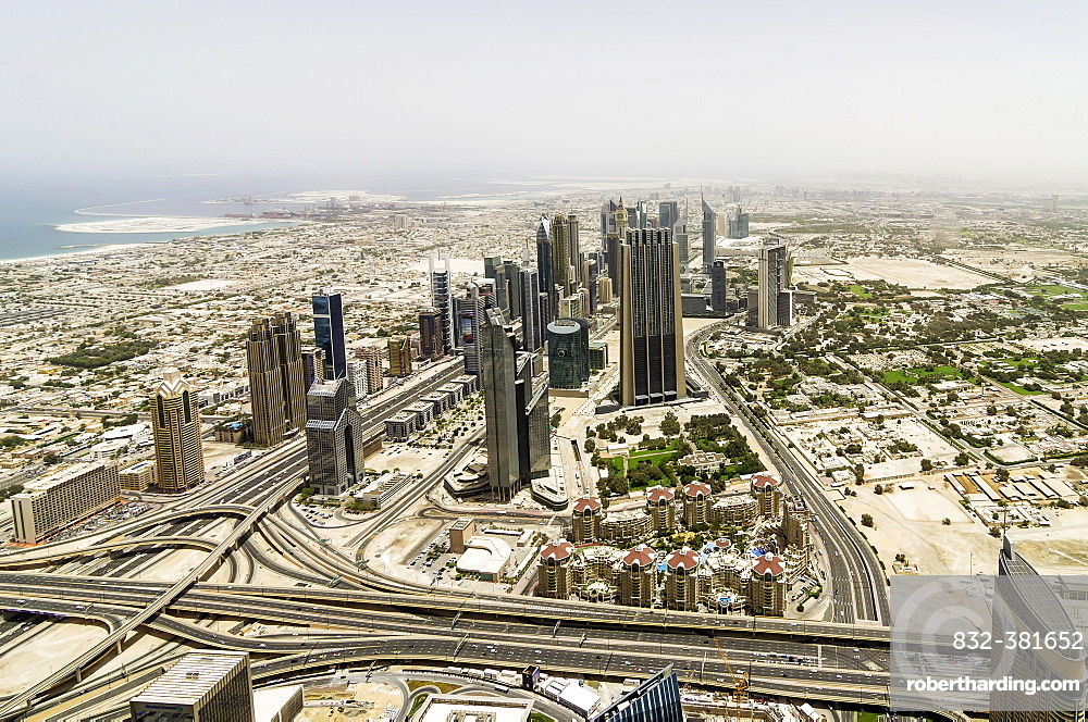 View from Burj Khalifa, Dubai, United Arab Emirates, Asia
