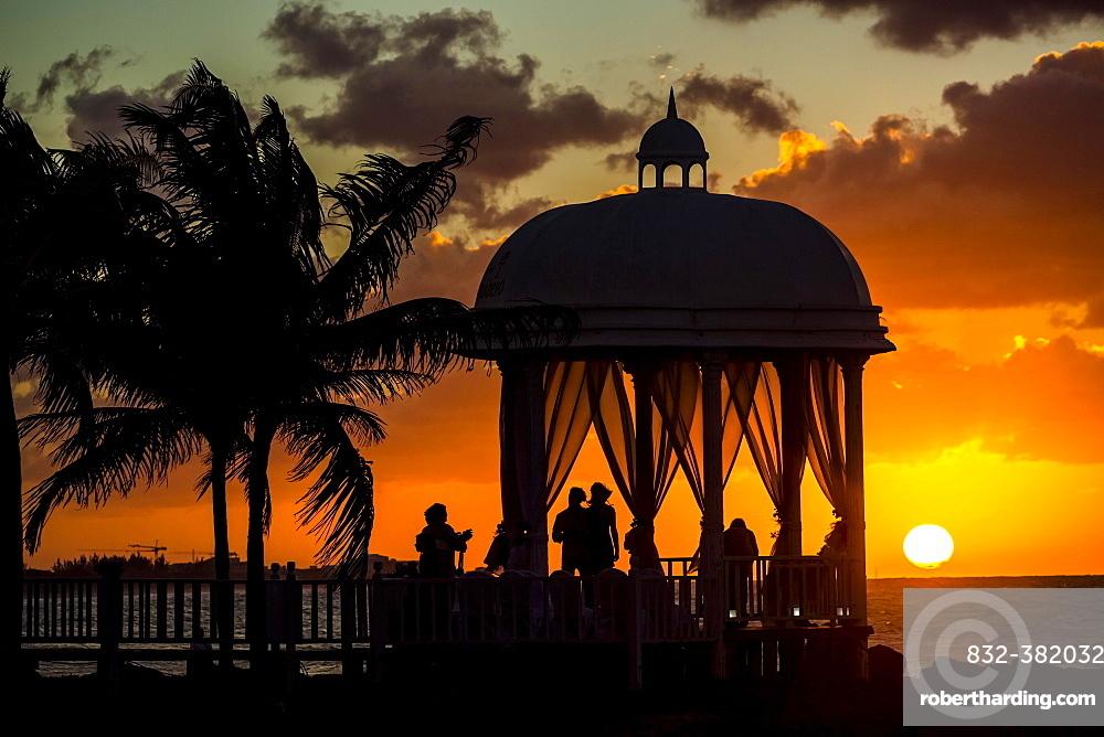 Wedding pavilion at Varadero beach with sunset in the Paradisus Varadero Resort & Spa hotel complex, Varadero, Matanzas, Cuba, Central America