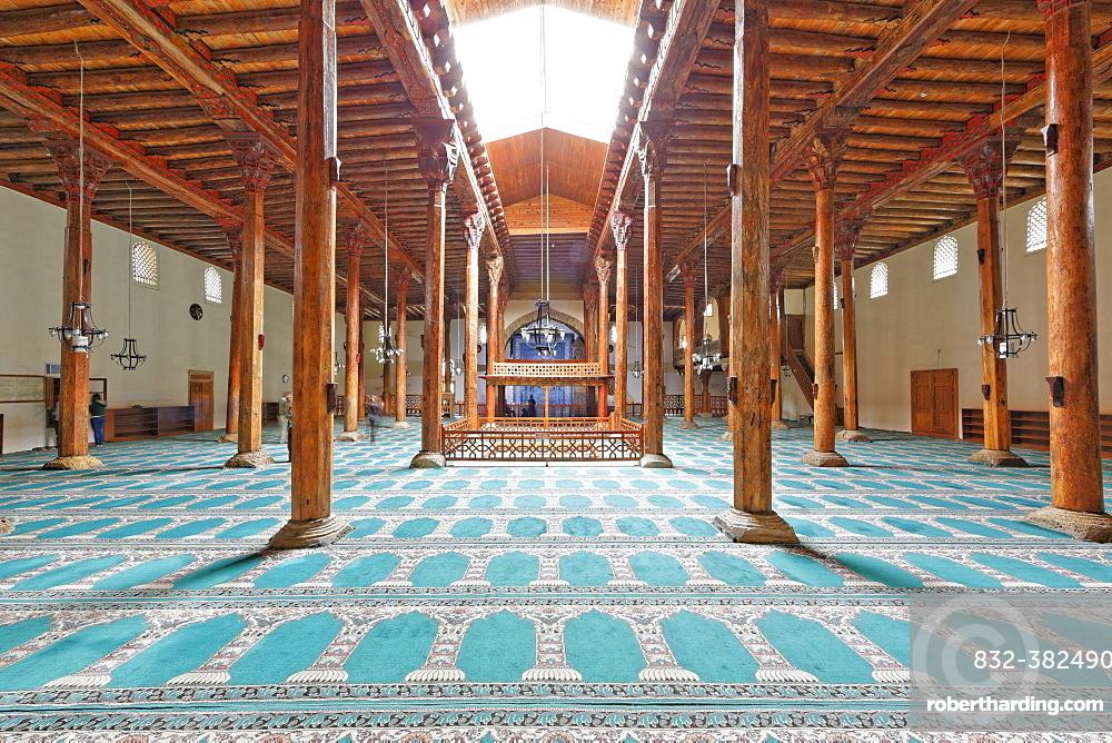 Esrefoglu Mosque, Seljuk mosque with wooden pillars, Beysehir, Konya Province, Central Anatolia Region, Anatolia, Turkey, Asia