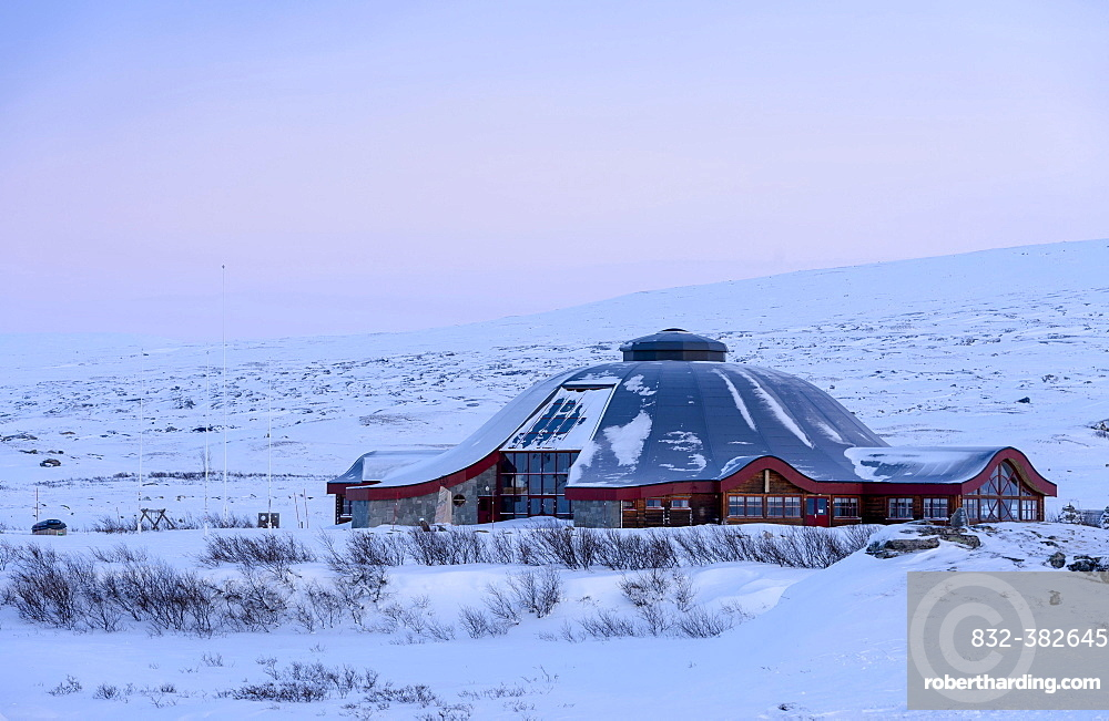 Closed visitor center at the Arctic Circle in winter, dusk, Saltfjellet, Norway, Europe