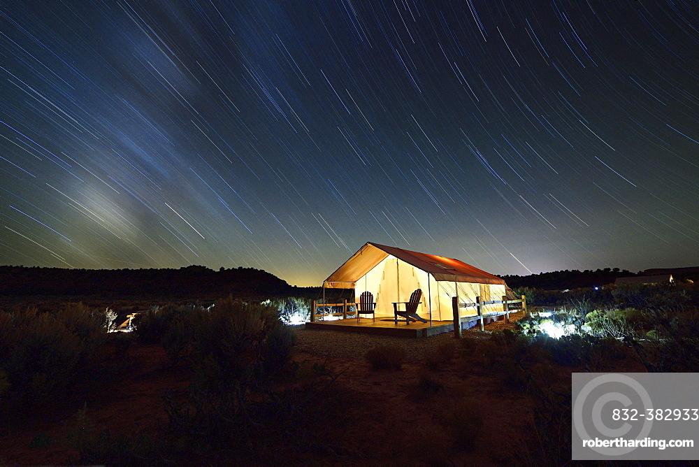 Glamping at Basecamp 37, night shot, Kanab, Utah, USA, North America