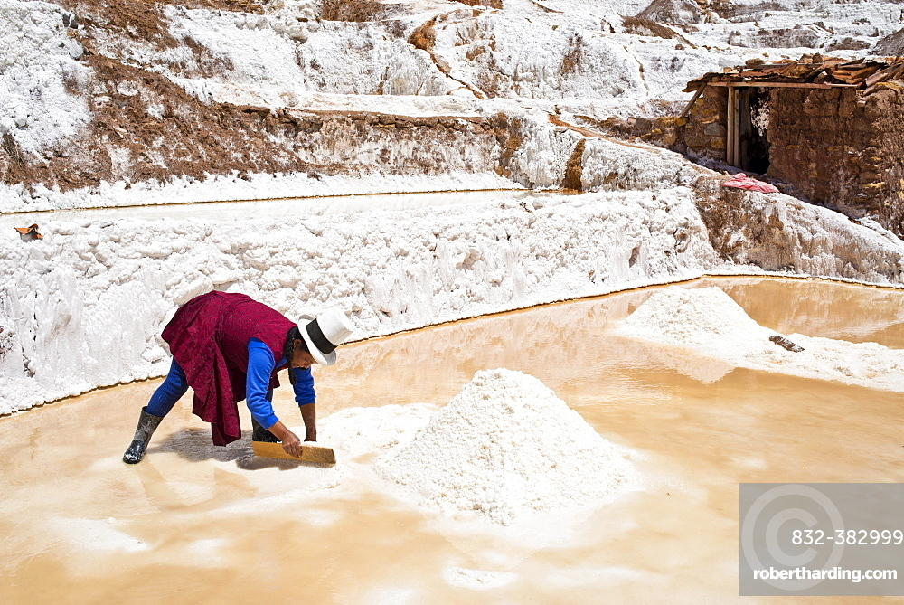 Locals piling up salt with a wooden board, Salinas de Maras salt pans, created by the Incas and still in operation, Pichingote, Cusco region, Andes, Peru, South America