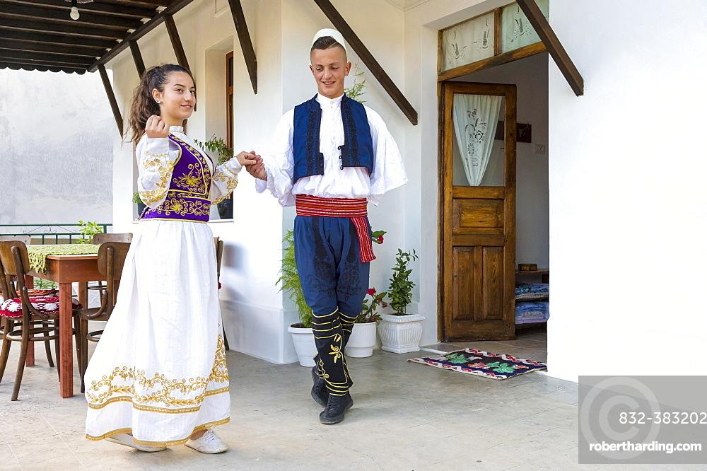 Local folkloric group in traditional costume demonstrating national Albanian dance, Berat, Albania, Europe