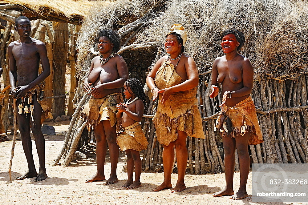 Dance of the native people, Damara Living Museum, near Twyfelfontein, Namibia, Africa