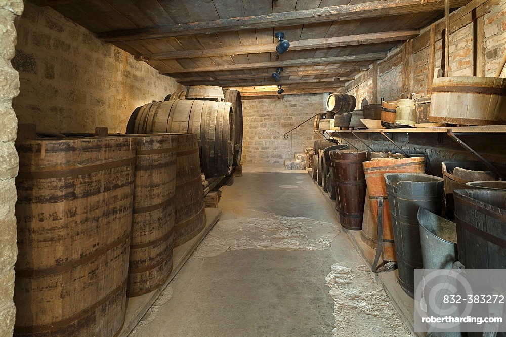 Old wine cellar with barrels of a winery, 19th century, Franconian Open Air Museum of Bad Windsheim, Bad Windsheim, Middle Franconia, Bavaria, Germany, Europe