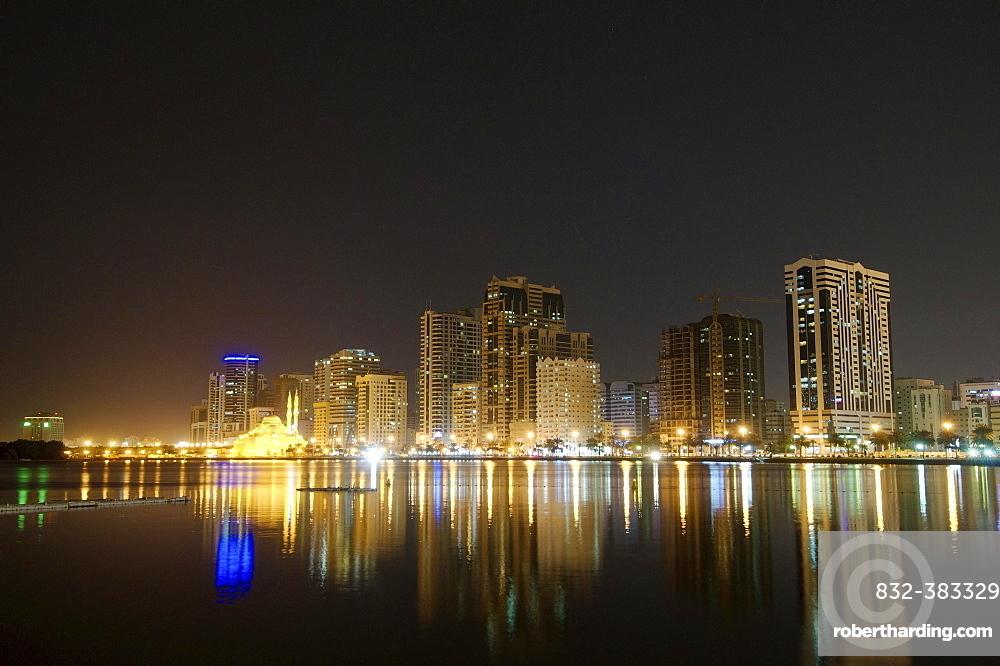 Skyline at night, Sharjah, Emirate of Sharjah, United Arab Emirates, Asia