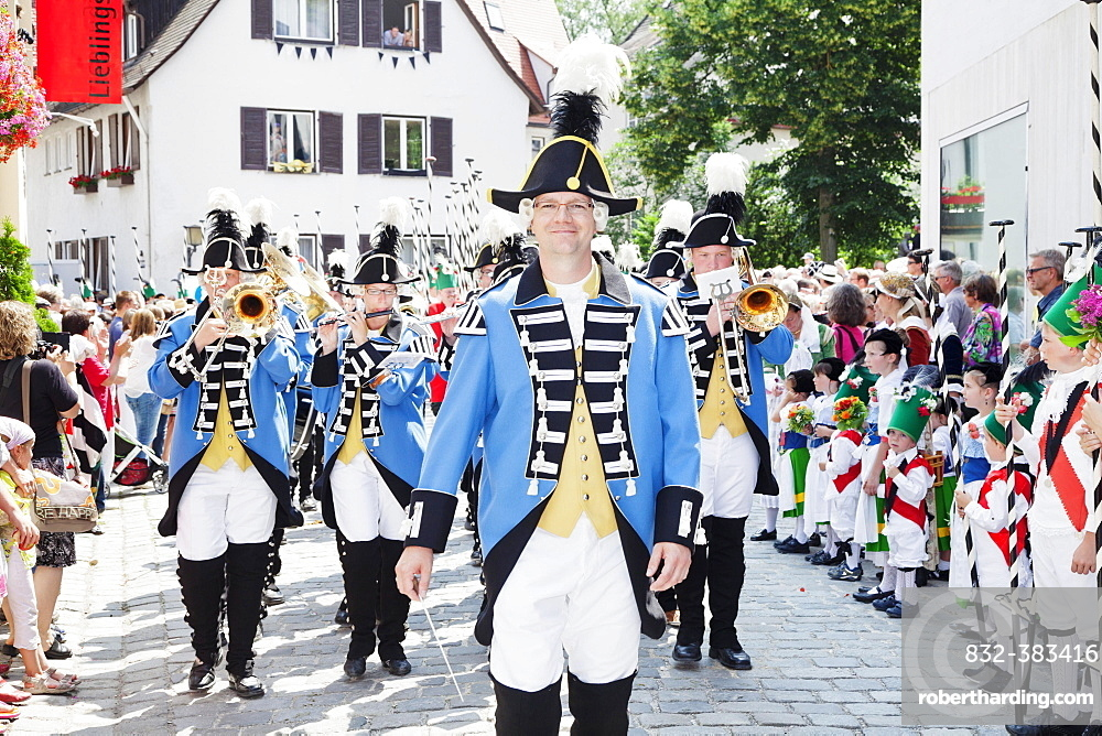Musicians of the Ulm town soldiers, Fischerstechen or water jousting festival, Ulm, Baden-Wurttemberg, Germany, Europe