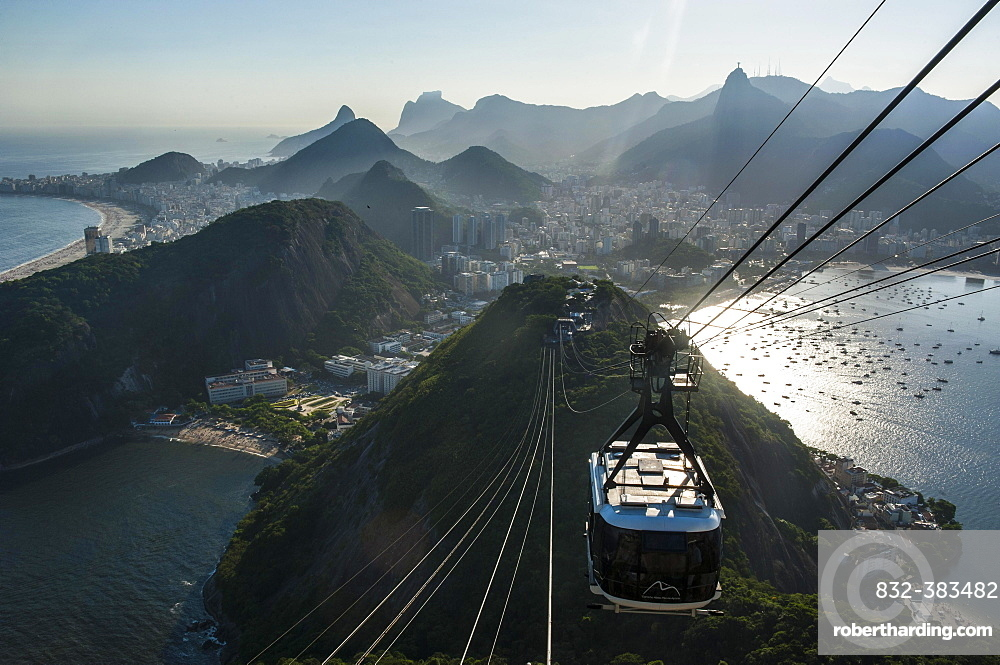 View from the Sugarloaf Mountain or Pao de Acucar and the famous cable car, Rio de Janeiro, Brazil, South America