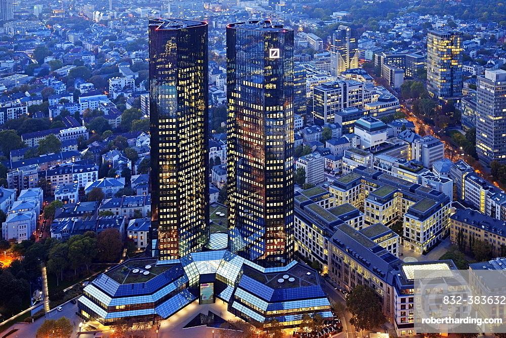 Mirrored twin towers of Deutsche Bank at dusk, Group Headquarters, Frankfurt am Main, Hesse, Germany, Europe