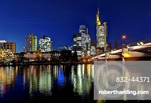 Skyline of Frankfurt at night, star effect, Commerzbank, Hessische Landesbank, Deutsche Bank, European Central Bank, Sparkasse, DZ Bank, Frankfurt am Main, Hesse, Germany, Europe, PublicGround