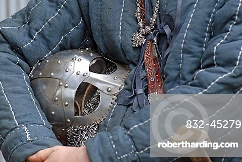 Helmet under a Viking 's arm, Viking festival, Hafnarfjoerur, West Iceland, Iceland, Europe