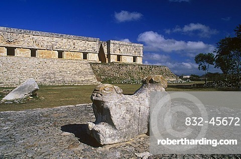 Palace of the Governor, Puuc Mayan ruins of Uxmal, Yucatan, Mexico, North America