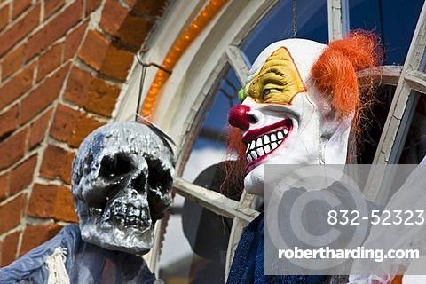 Halloween figures at the entrance of a shop in Newburyport, Massachusetts, New England, USA