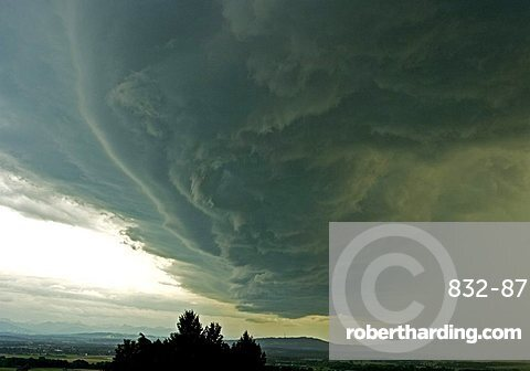 Clouds of a Thunderstorm, Stormy wind clouds over the Peissenberg hill, PŠhl, Bavaria, Germany, BRD, Europe,