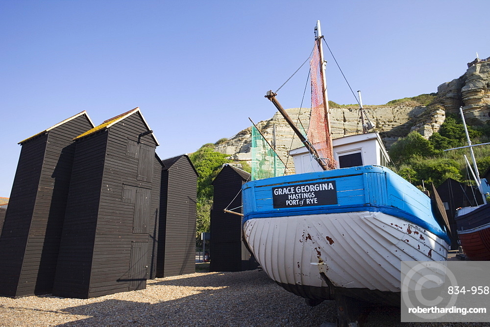 Fishing boats and net sheds | Stock Photo