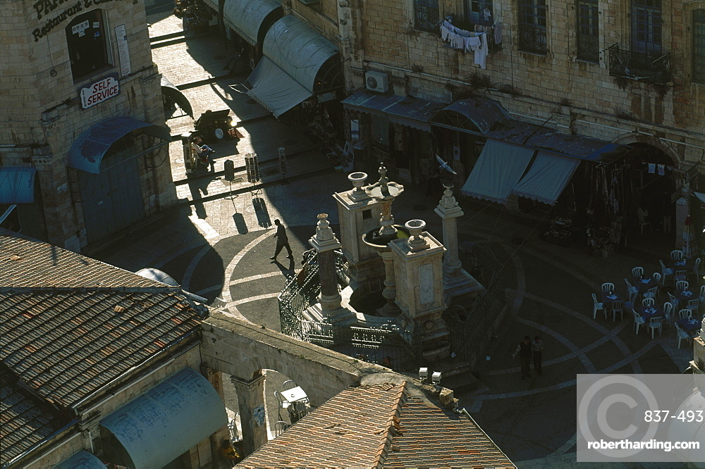 Aerial view of the Muristan quarter in the old city of Jerusalem, Israel