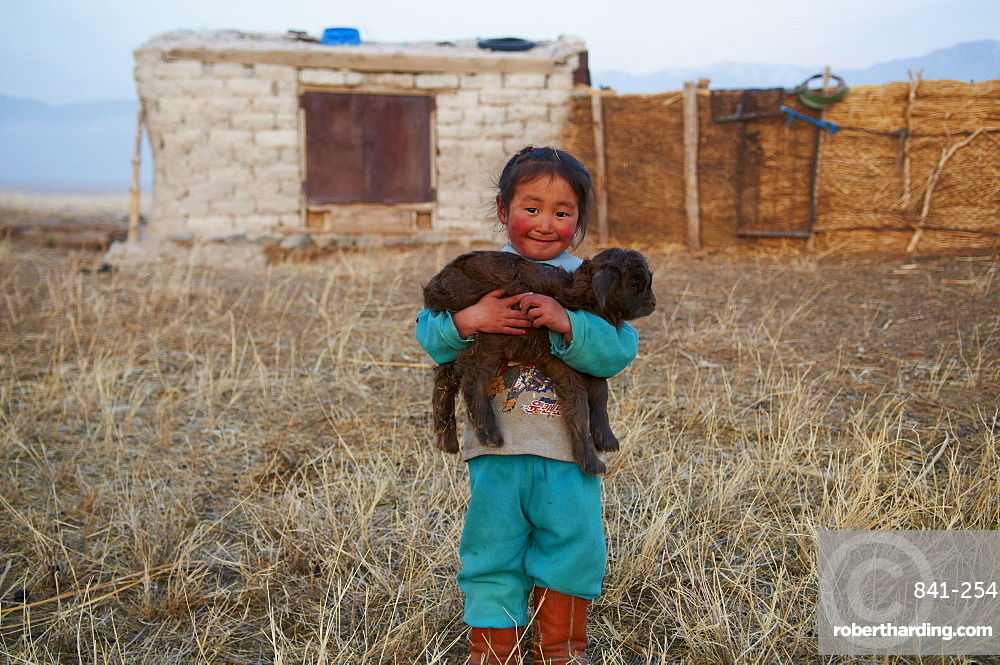 Young Mongolian nomad boy with his goat, Province of Khovd, Mongolia, Central Asia, Asia