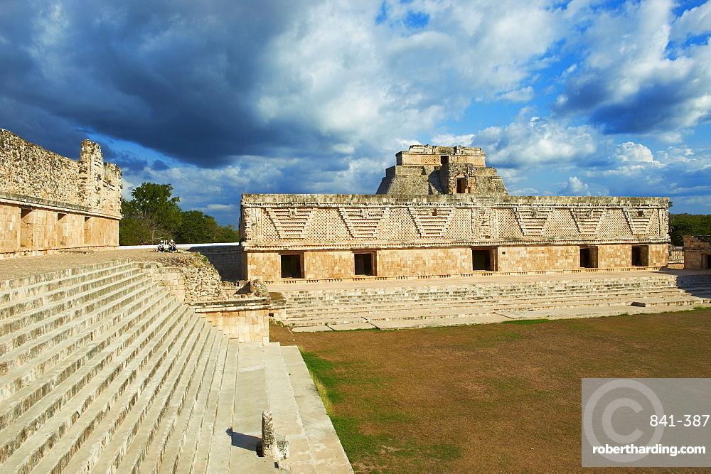 Pyramid of the Magician and Cuadrangulo de las Monjas (Nuns' Quadrangle) at Mayan archaeological site, Uxmal, UNESCO World Heritage Site, Yucatan State, Mexico, North America