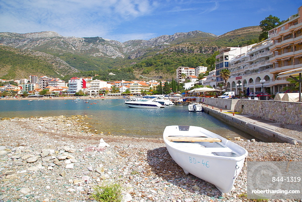 View of harbour and boats, Becici, Budva Bay, Montenegro, Europe
