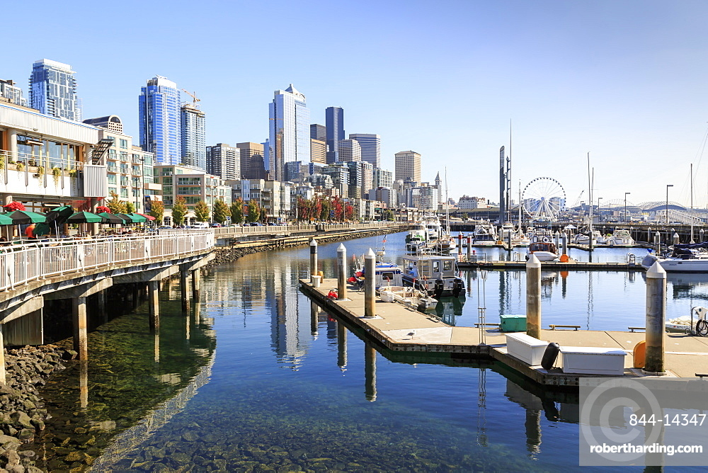 Seattle Skyline and restaurants on sunny day in Bell Harbor Marina, Seattle, Washington State, United States of America, North America