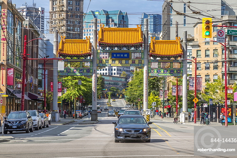 Colourful entrance to Chinatown, Vancouver, British Columbia, Canada, North America