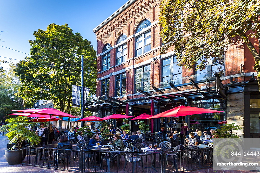 Cafe and bar in Maple Tree Square in Gastown, Vancouver, British Columbia, Canada, North America