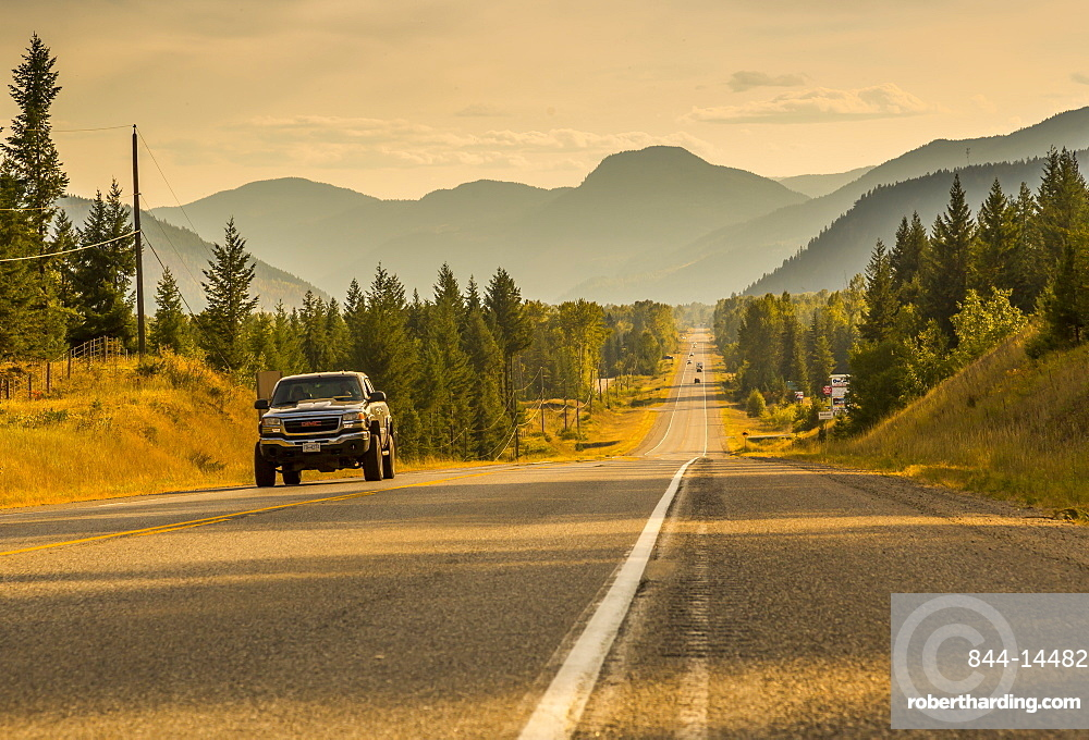 View of Southern Yellowhead Highway between Little Fort and Clearwater, British Columbia, Canada, North America