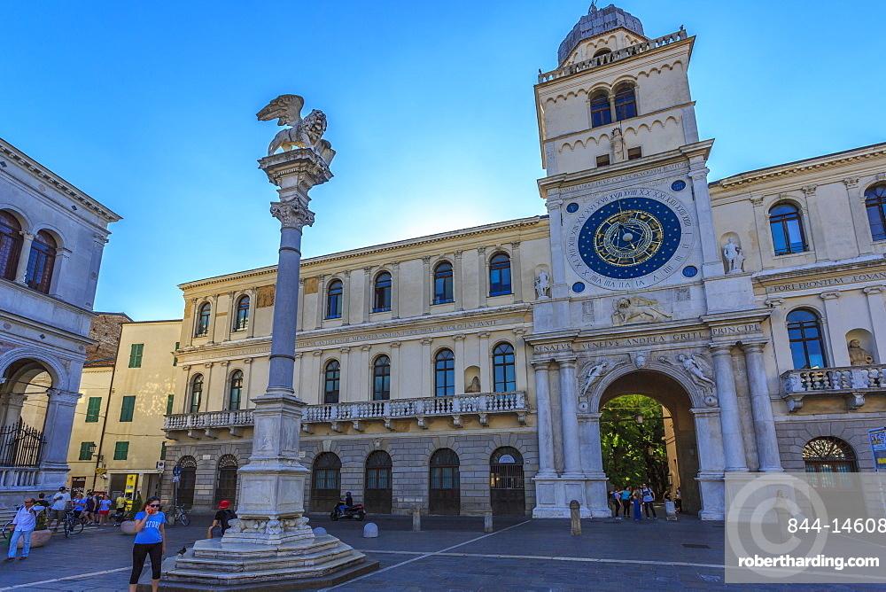 Clocktower of Ufficio Demografico e Anagrafe (Palazzo del Capitano) in Piazza dei Signori, Padua, Veneto, Italy, Europe