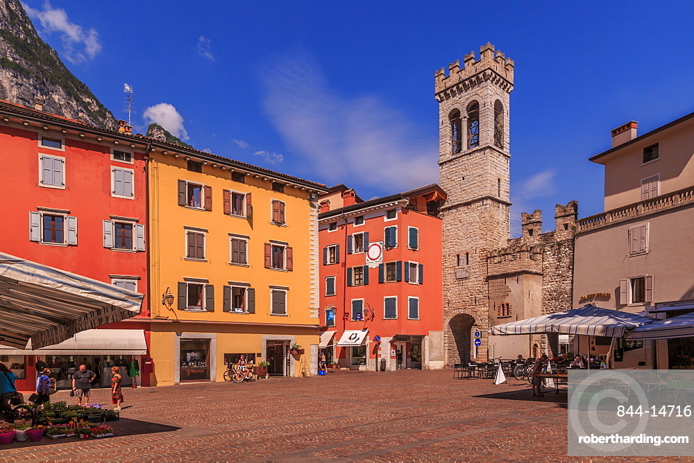 View of Porta di San Michele in Piazza Cavour, Riva del Garda, Lake Garda, Trentino, Italian Lakes, Italy, Europe