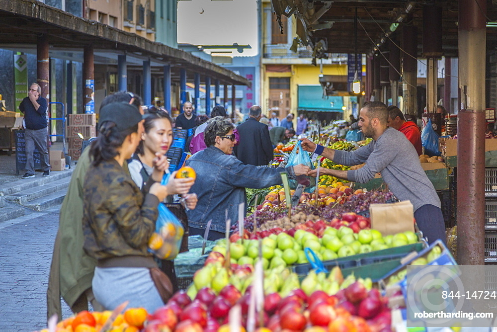 View of people shopping at Central Market fruit stall, Monastiraki District, Athens, Greece, Europe