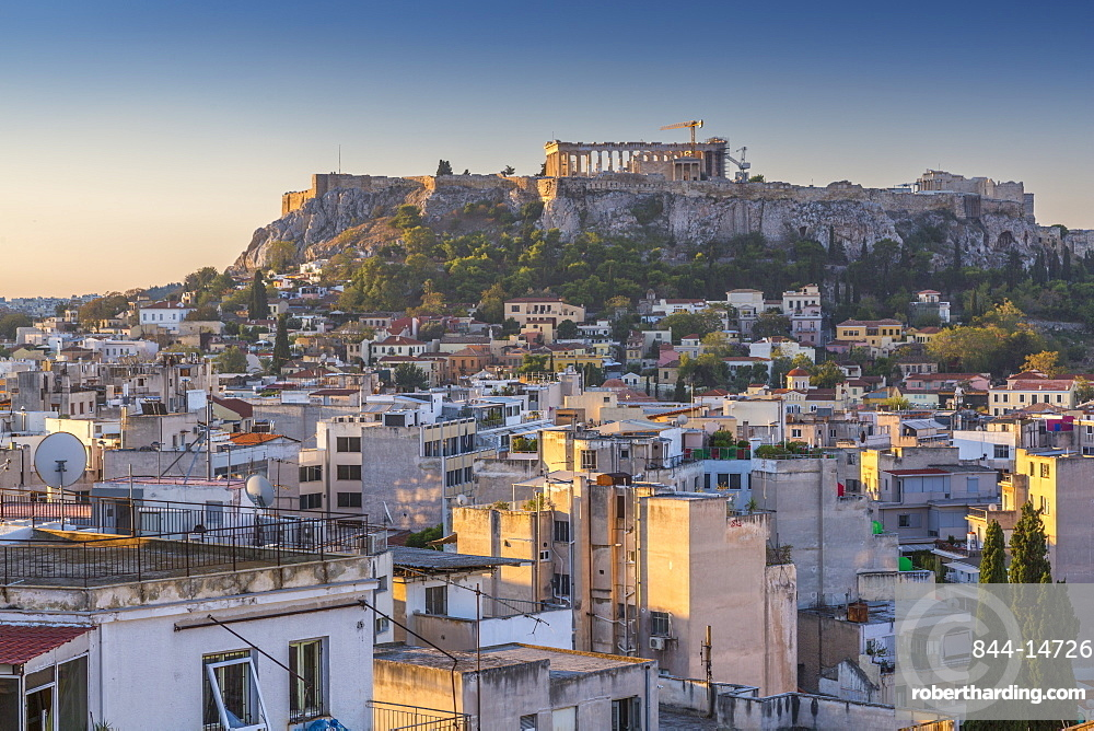 Elavated view of The Acropolis at dawn from the Monastiraki District, Athens, Greece, Europe