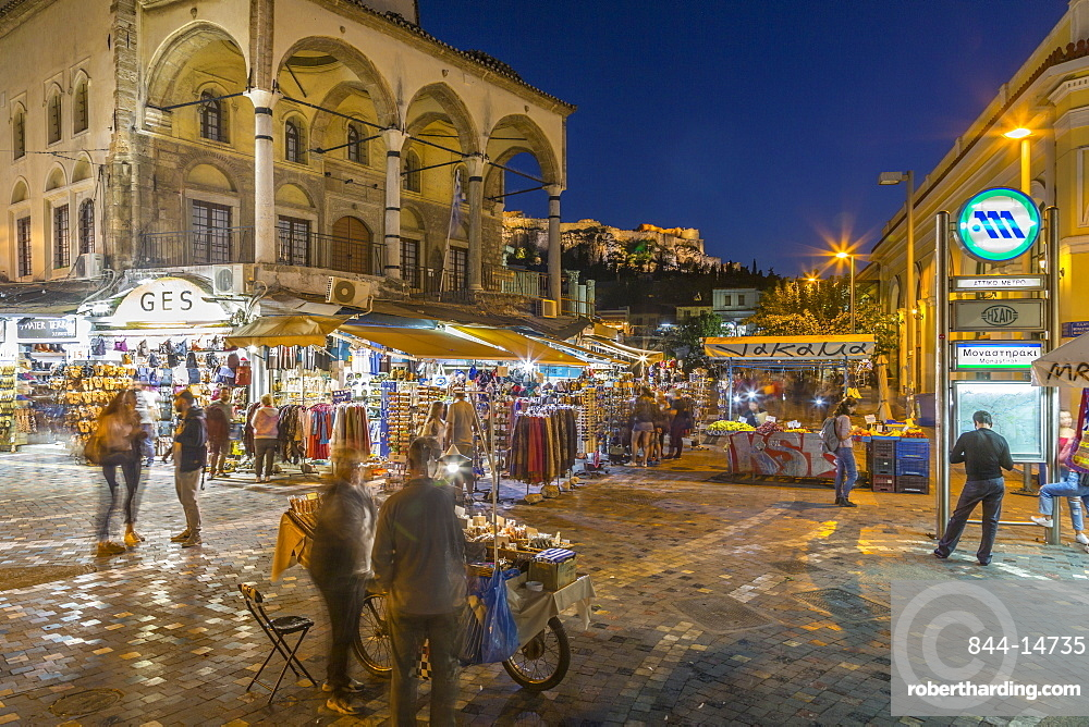 View of Museum of Ceramics and market stalls in Monastiraki Square at dusk, Monastiraki District, Athens, Greece, Europe