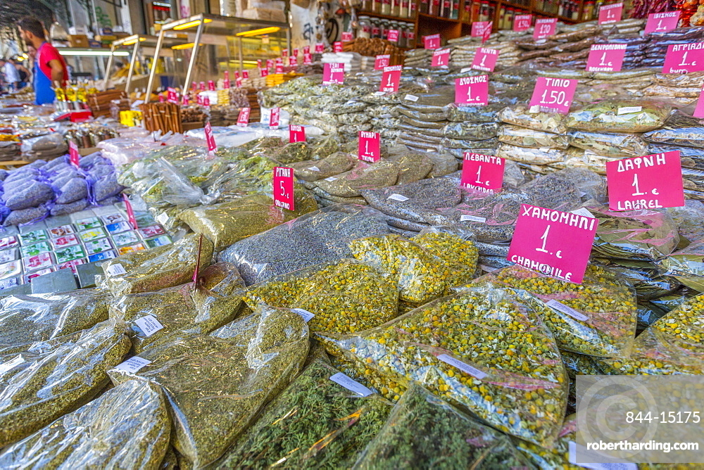 Herbs and spices on produce stall in Central Market, Monastiraki District, Athens, Greece, Europe