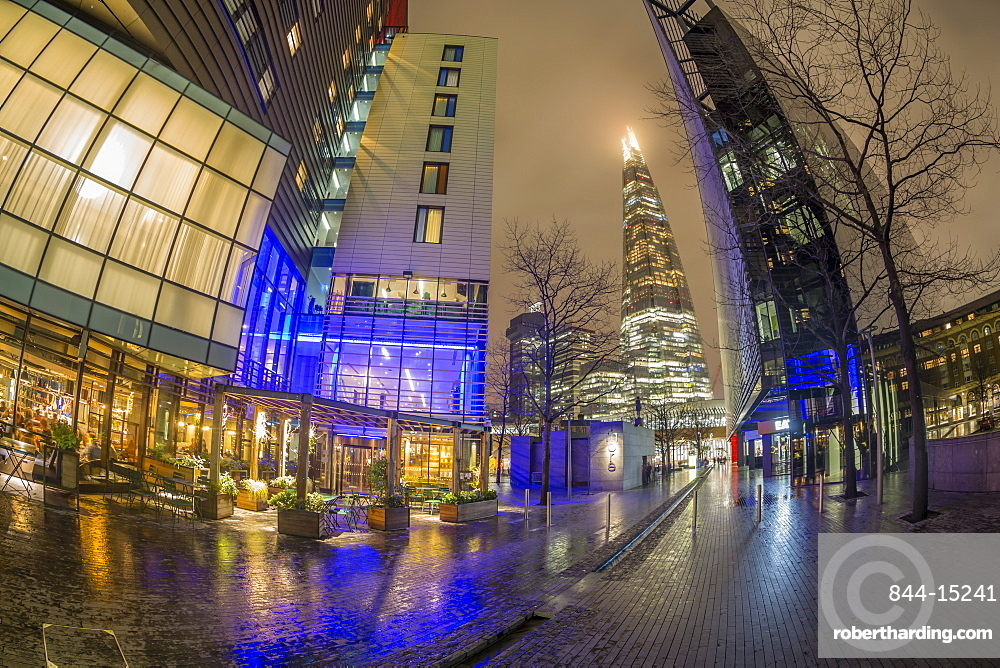 Fisheye view of More London skyline and The Shard visible in background at night, Southwark, London, England, United Kingdom, Europe