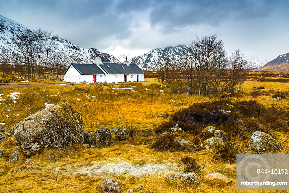 Winter storm and Blackrock Cottage, Glencoe, Highland Region, Scotland, United Kingdom, Europe