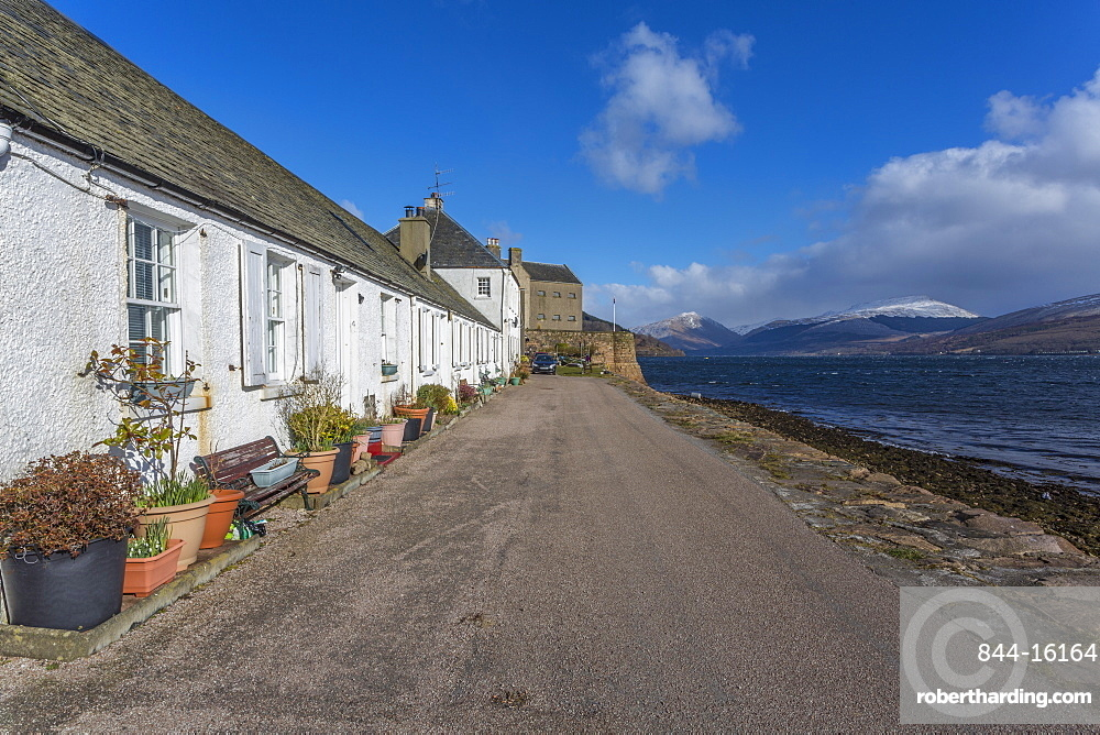 View of Inveraray village and the Loch Fine estuary, Argyll and Bute, Scotland, United Kingdom, Europe