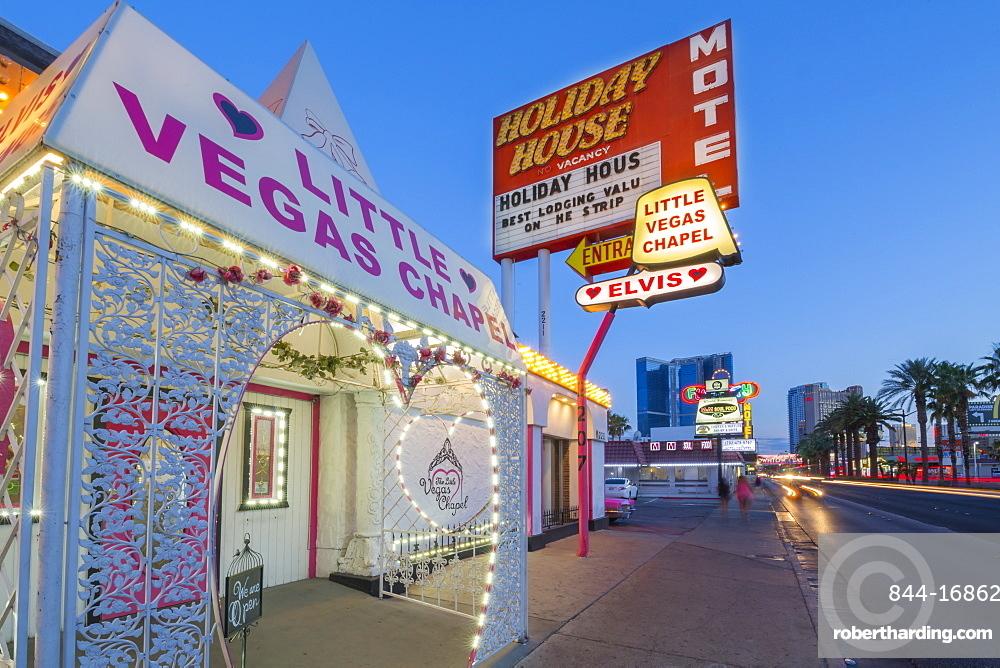 View of Little Vegas Chapel at dusk, The Strip, Las Vegas Boulevard, Las Vegas, Nevada, United States of America, North America