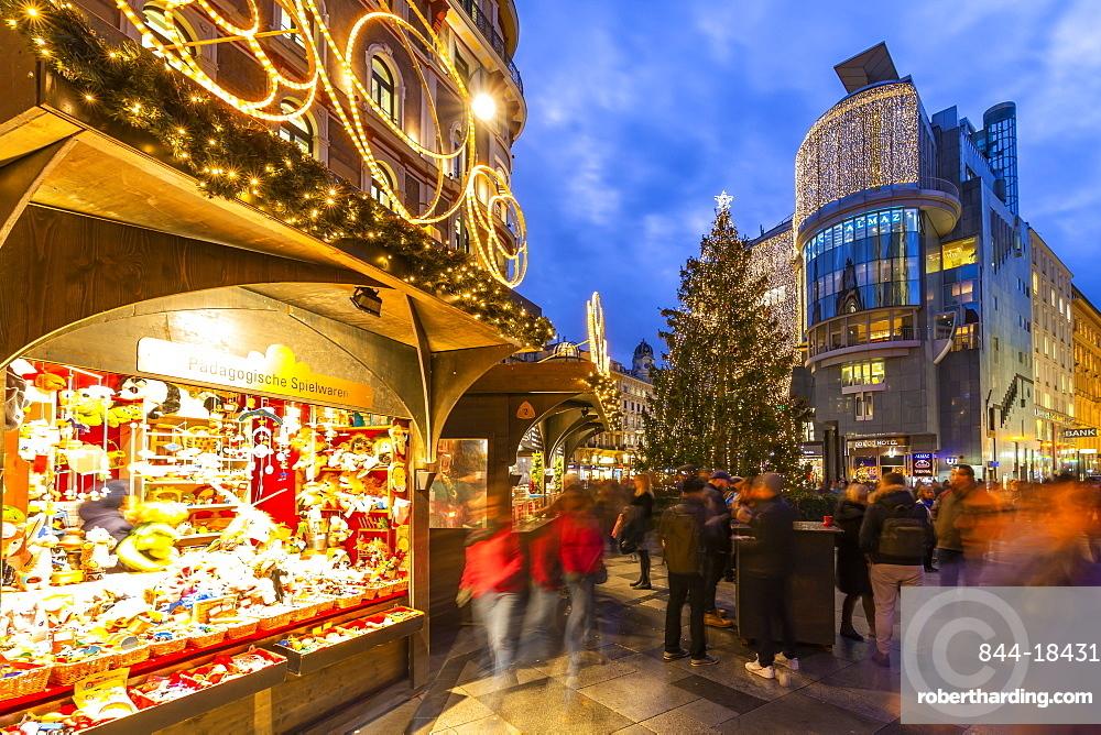 View of Stephanplatz Christmas Market at dusk, Vienna, Austria, Europe