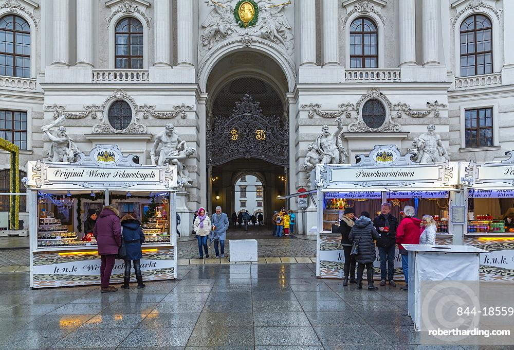 Christmas Market stalls in Michaelerplatz, Vienna, Austria, Europe