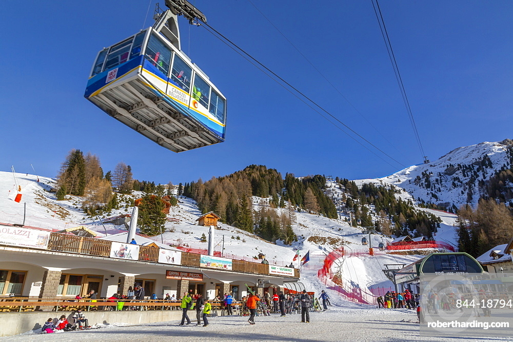 View of cable car and ski village at Pecol in winter, Canazei, Val di Fassa, Trentino, Italy, Europe