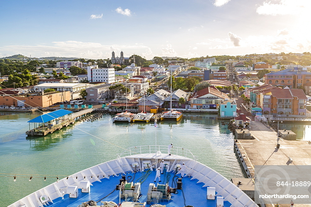 Onboard cruise ship entering Heritage Quay, St. John's, Antigua, West Indies, Caribbean, Central America