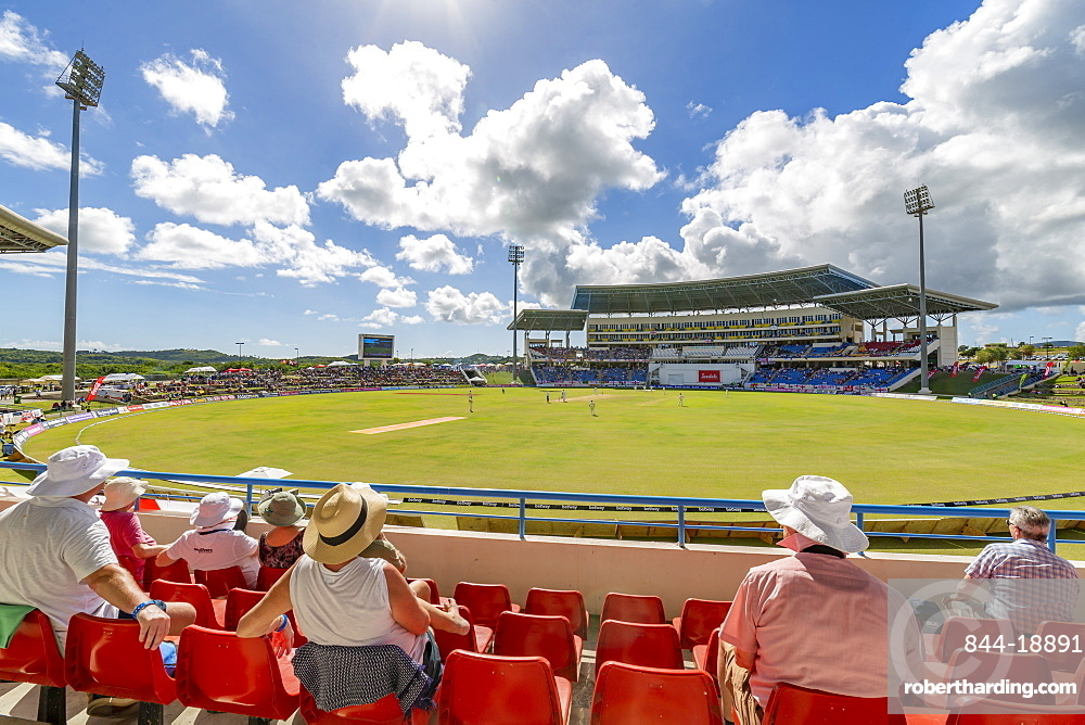 View of cricket match at Sir Vivian Richards Stadium, St. George, Antigua, West Indies, Caribbean, Central America