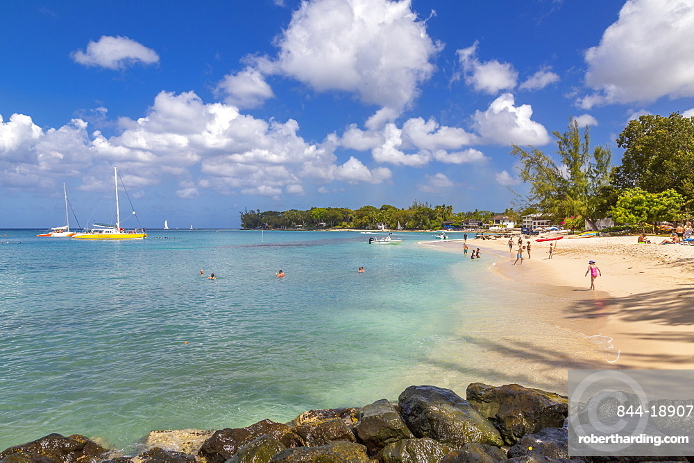 View of beach and Caribbean Sea at Holetown, Barbados, West Indies, Caribbean, Central America