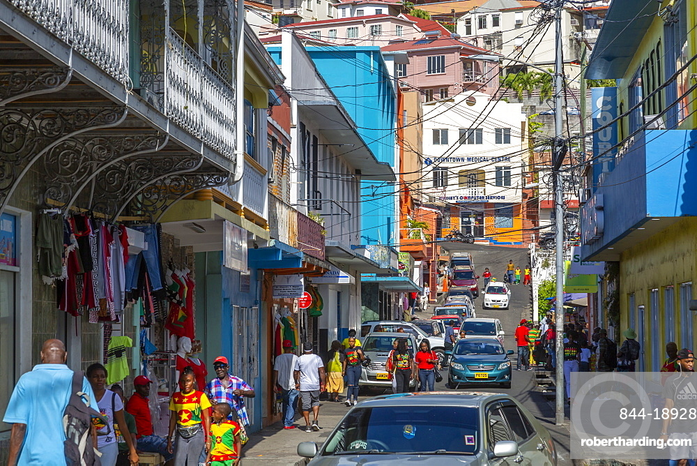 View of busy street in St George's, Grenada, Windward Islands, West Indies, Caribbean, Central America