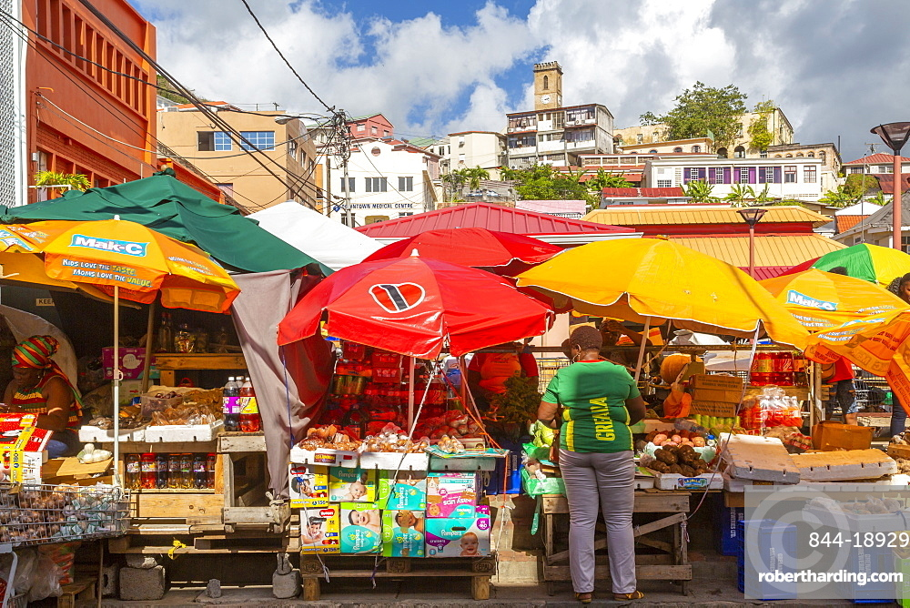 View of colourful market in St George's, Grenada, Windward Islands, West Indies, Caribbean, Central America